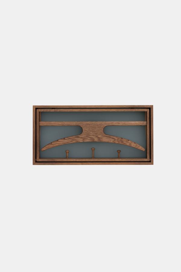 Knagerække og skab, The Hanger fra Klassik Studio, grå, blå og røget eg