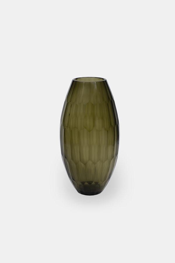 Drake 38 - Olivengrøn glasvase med en højde på 38 cm