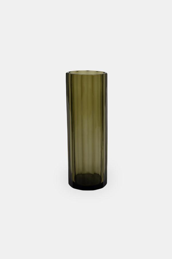 Olivengrøn glasvase Marni 30, mundblæst vase, 30x10 cm