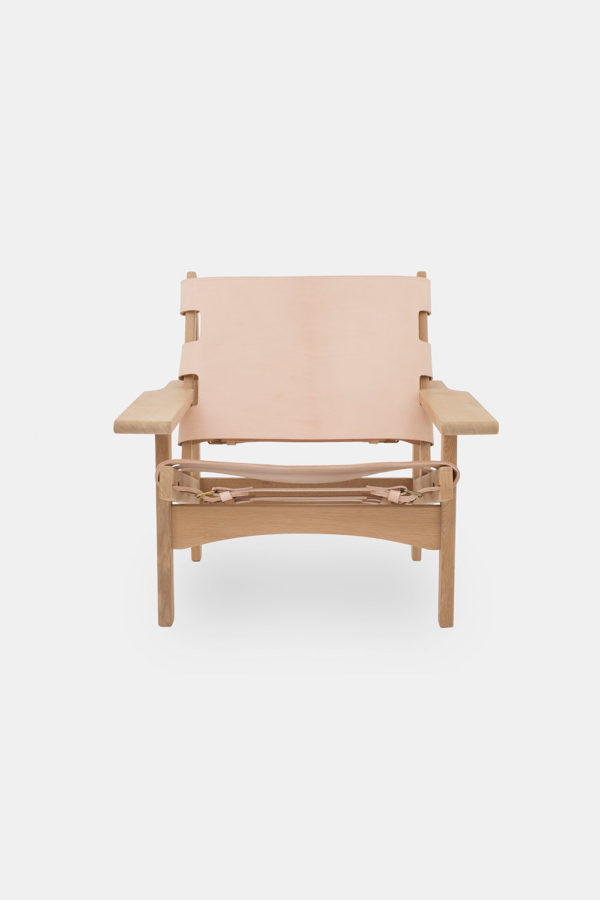 Kurt Østervig stol, Jagtstolen, massiv eg og lys kernelæder