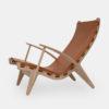 Loungechair med cognac farvet læder, designerstol