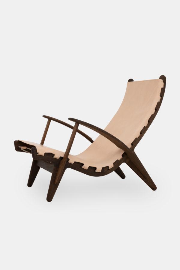 Designer stol, naturlæder og eg, dansk designmøbel