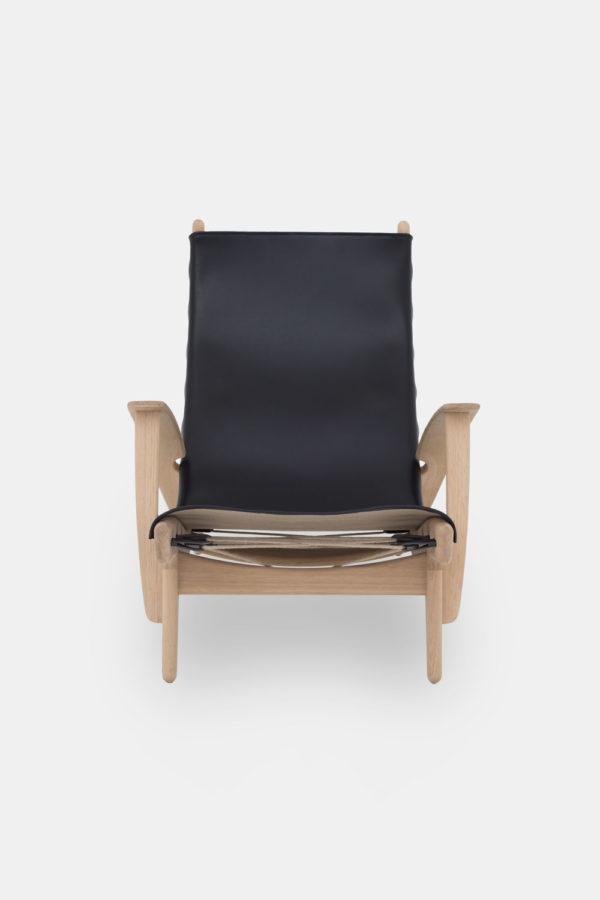 Egestræ stol, sort læder, Kongestolen af Poul Volther